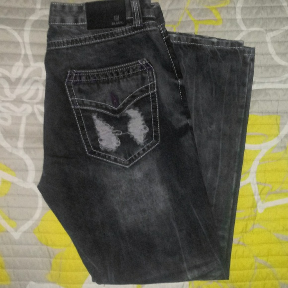 Black Other - Mens Relaxed Fit Distressed Jeans 34X30